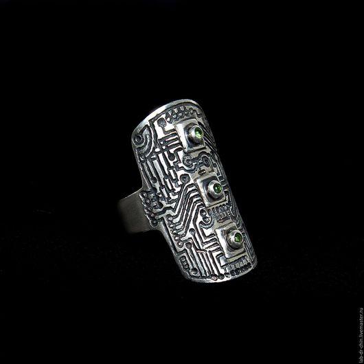 """Кольца ручной работы. Ярмарка Мастеров - ручная работа. Купить Кольцо. Серебро. Гравировка. """"Микросхема"""". Handmade. Кольцо, кольцо с хризолитом"""