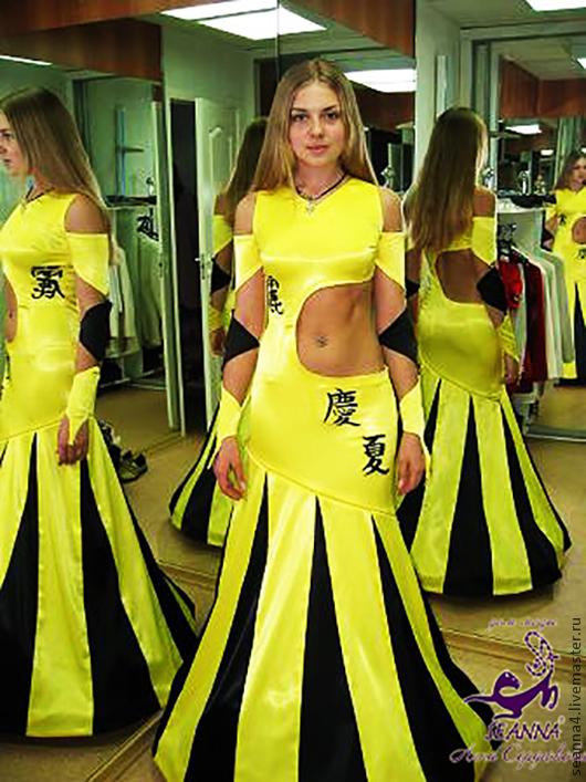 """Платья ручной работы. Ярмарка Мастеров - ручная работа. Купить Платье-трансформер (отстегивается) """"Желто-черные иероглифы"""" с вышивкой. Handmade."""