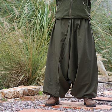 Одежда ручной работы. Ярмарка Мастеров - ручная работа Мужские афгани из твила цвета хаки. Handmade.