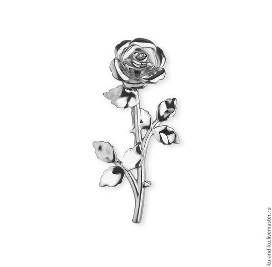 Броши ручной работы. Ярмарка Мастеров - ручная работа. Купить Брошь. Роза серебряная (KU&KU Ку-энд-Ку). Handmade.