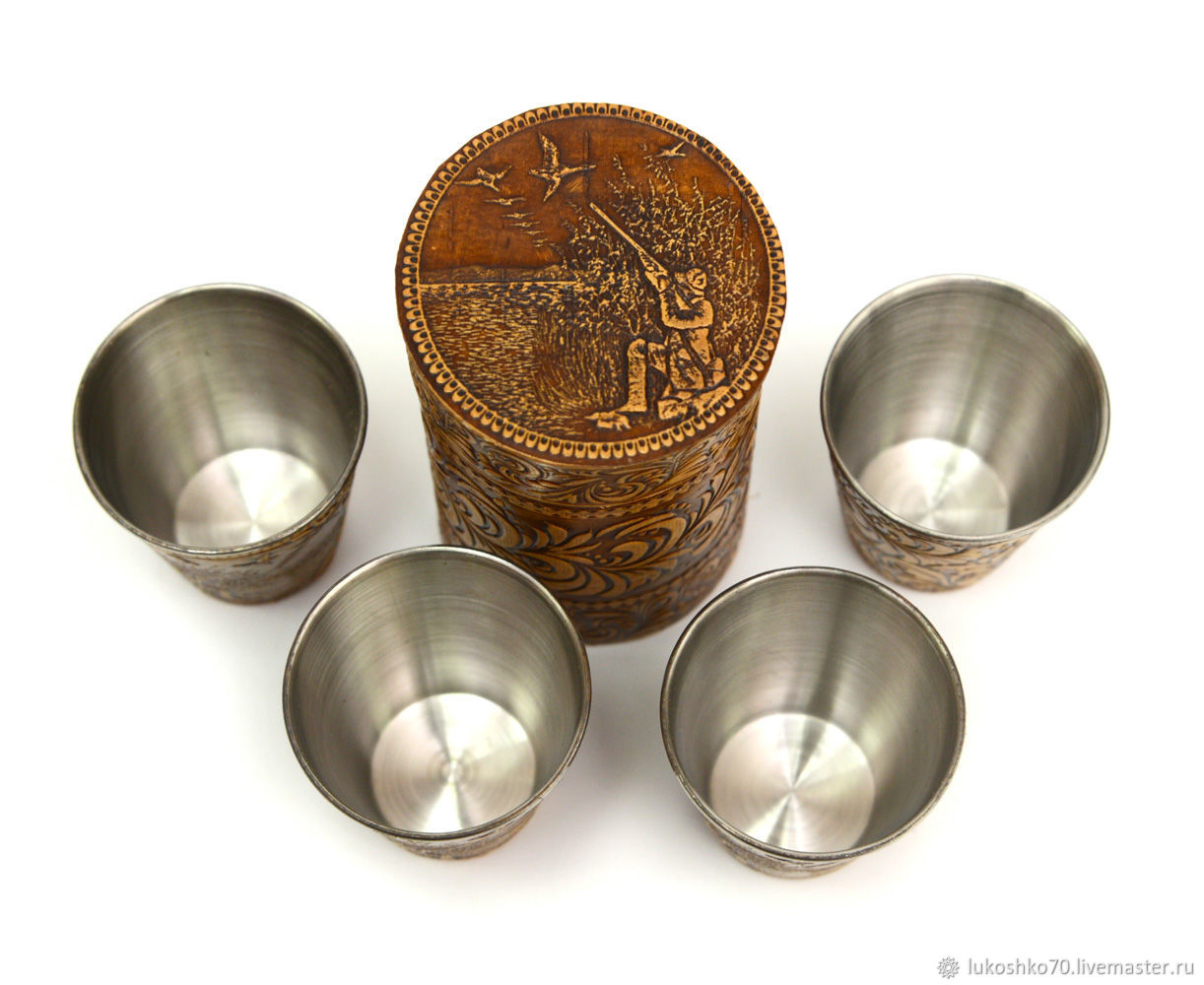 A set of stacks in box 'Hunter' (large). Gift to man, Shot Glasses, Tomsk,  Фото №1