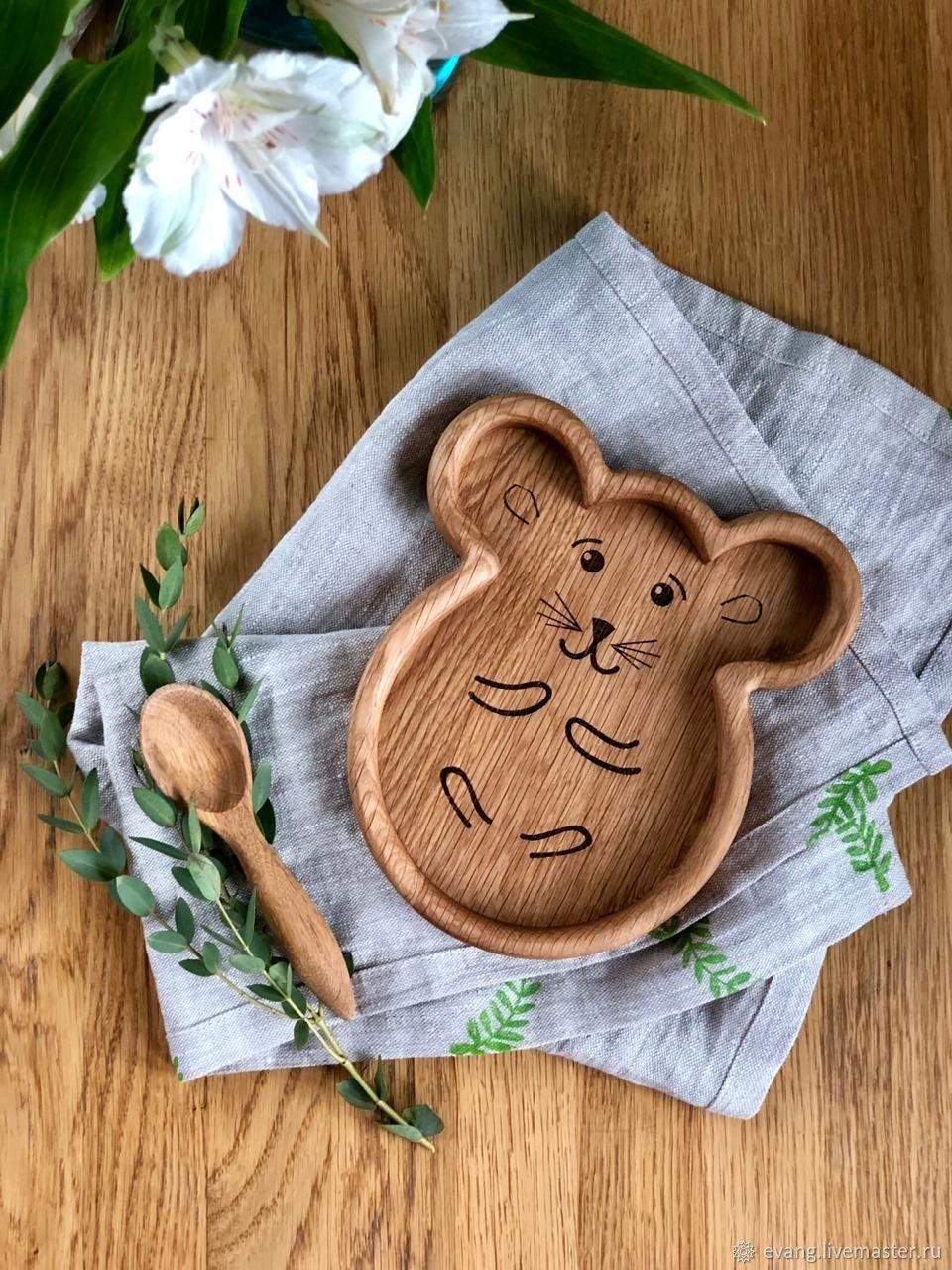 Дубовая тарелка Мышка, Тарелки, Великий Новгород,  Фото №1