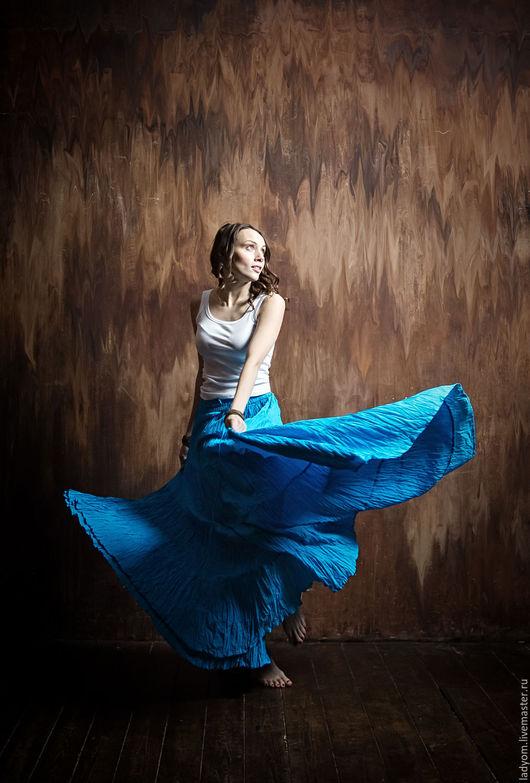 Юбки ручной работы. Ярмарка Мастеров - ручная работа. Купить Длинная юбка из тонкого хлопка. Handmade. Голубой, юбка длинная