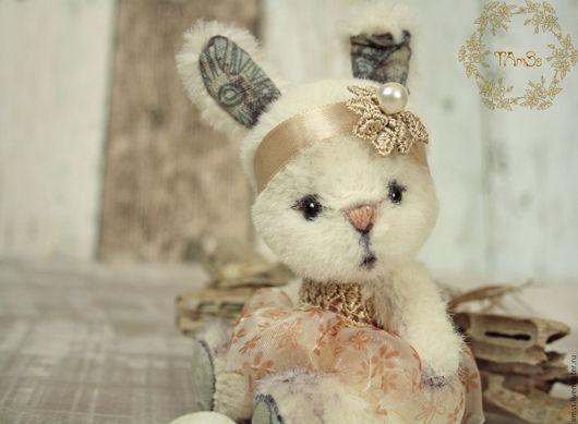 Мишки Тедди ручной работы. Ярмарка Мастеров - ручная работа. Купить Тедди зайка Чиа. Handmade. Белый, миник, опилочки