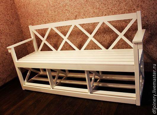 Мебель ручной работы. Ярмарка Мастеров - ручная работа. Купить Скамья из дерева. Handmade. Белый, глянец, мебель из сосны