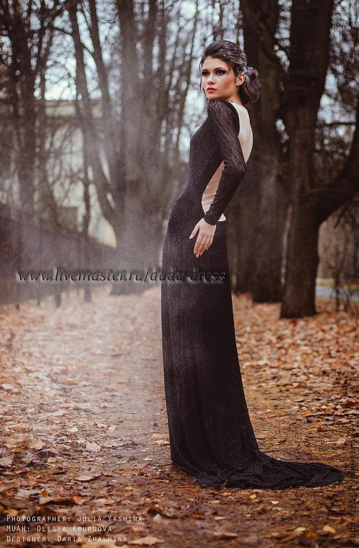 Платья ручной работы. Ярмарка Мастеров - ручная работа. Купить Платье кружевное в пол с бежевой спинкой. Handmade. Черный