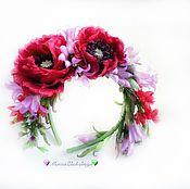 Украшения handmade. Livemaster - original item Bezel with poppies,lavender and bellflowers silk. Handmade.
