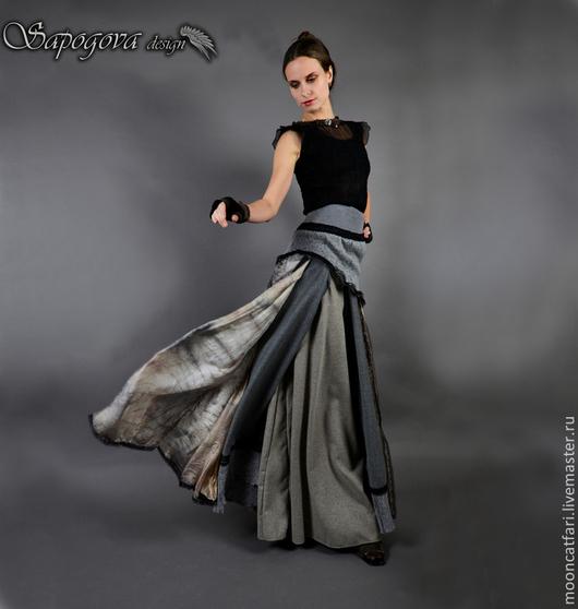 Алина Сапогова: Авторский комплект из шерсти и шелка: длинная юбка с кружевом  и блузка в винтажном стиле `Серый ветер`.