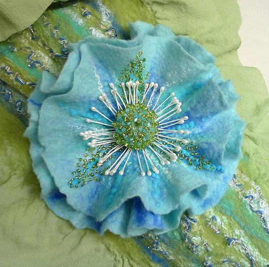 валяная брошь-цветок НАЯДА, шерсть,  ArtGiftBox