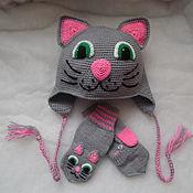 Шапки ручной работы. Ярмарка Мастеров - ручная работа Шапка детская кошечка и варежки котята. Handmade.