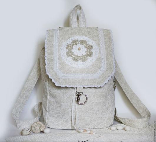 Льняной рюкзак, женский рюкзак, летний рюкзак, сумки и рюкзаки ручной работы, автор Юлия Льняная сказка