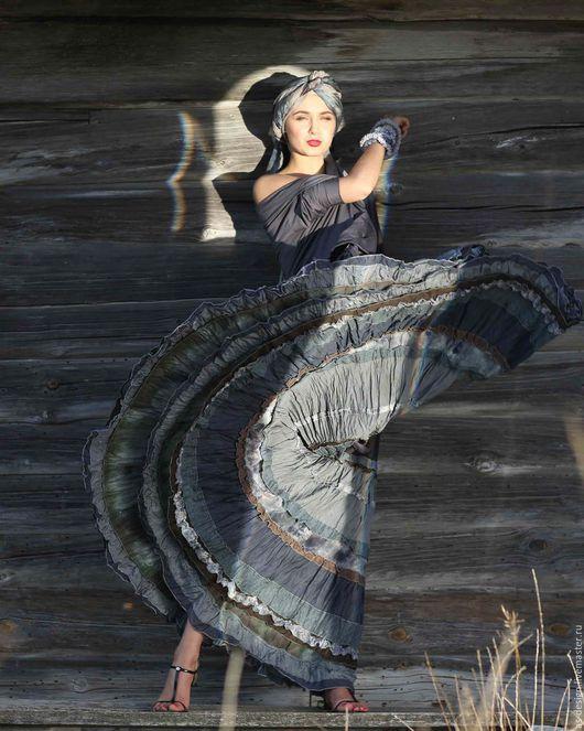 Юбки ручной работы. Ярмарка Мастеров - ручная работа. Купить Серая многоярусная, длинная юбка в стиле бохо.. Handmade. Серый