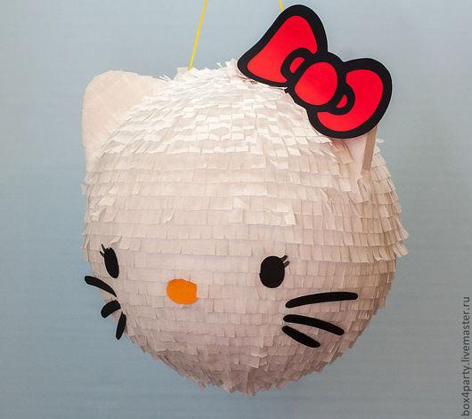 Праздничная атрибутика ручной работы. Ярмарка Мастеров - ручная работа. Купить Пиньята - Hello Kitty. Handmade. Белый, бумага