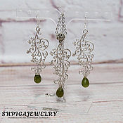 Украшения handmade. Livemaster - original item Jewelry set with green garnet