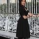 Платье, Платье  нарядное, Платье по колено, Платье дизайнерское, Платье с V-вырезом, Платье с рукавами, Платье с кружевной отделкой, Платье с кружевом, Платье по фигуре, Платье черное, Черное платье,
