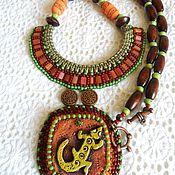 handmade. Livemaster - original item Necklace: Lizard. Ceramic necklace in ethno style. Handmade.