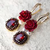 """Украшения ручной работы. Ярмарка Мастеров - ручная работа Позолоченные серьги по мотивам Dolce & Gabbana  """" Red Rose """". Handmade."""