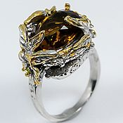 Украшения handmade. Livemaster - original item Magnolia ring with cognac quartz.. Handmade.