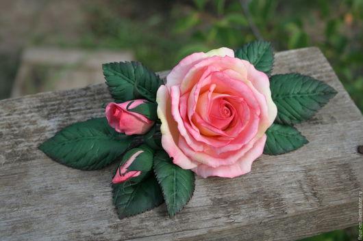 Заколки ручной работы. Ярмарка Мастеров - ручная работа. Купить Роза с бутонами.. Handmade. Бледно-розовый, романтический стиль