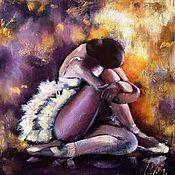 Картины и панно handmade. Livemaster - original item Oil painting on canvas of a seated Ballerina (purple yellow). Handmade.