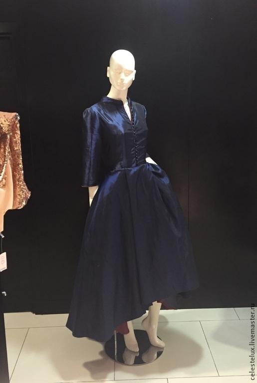 Платья ручной работы. Ярмарка Мастеров - ручная работа. Купить Blue Dahlia платье с пышной юбкой. Handmade. Тёмно-синий