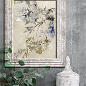 Картины и панно handmade. Livemaster - original item Silver Patterns 60h40 cm (blue, beige)painting. Handmade.