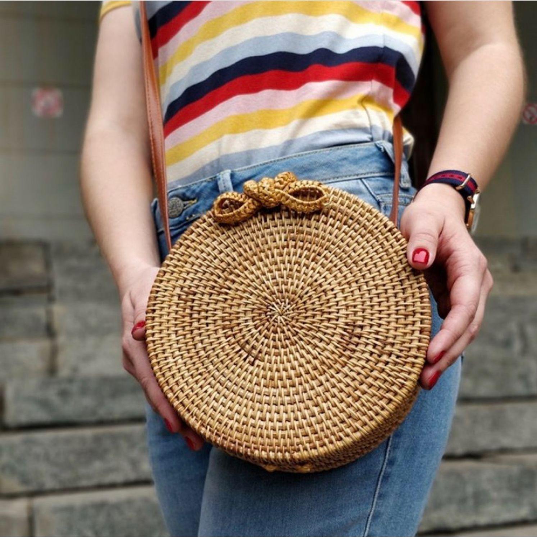Круглая деревянная сумка из ротанга, Сумка-шоппер, Москва,  Фото №1