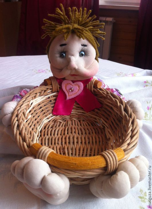 """Человечки ручной работы. Ярмарка Мастеров - ручная работа. Купить Кукла-корзинка-конфетница """"Маруся Чаевница"""",украшение кухни. Handmade."""