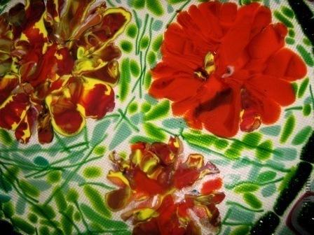 """Тарелки ручной работы. Ярмарка Мастеров - ручная работа. Купить Фьюзинг. Блюдо """"Май"""". Handmade. Ярко-красный, стекло, цветы"""