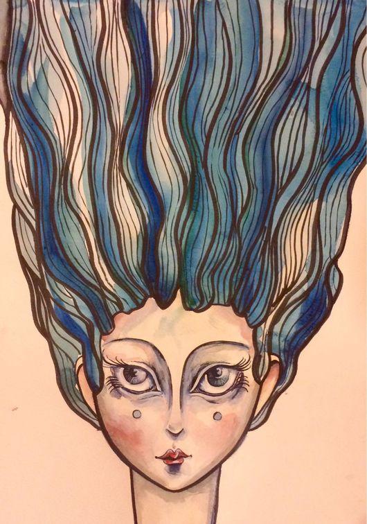 Символизм ручной работы. Ярмарка Мастеров - ручная работа. Купить Волосы-река Картина-перевертыш Смешанная техника. Handmade. акварель