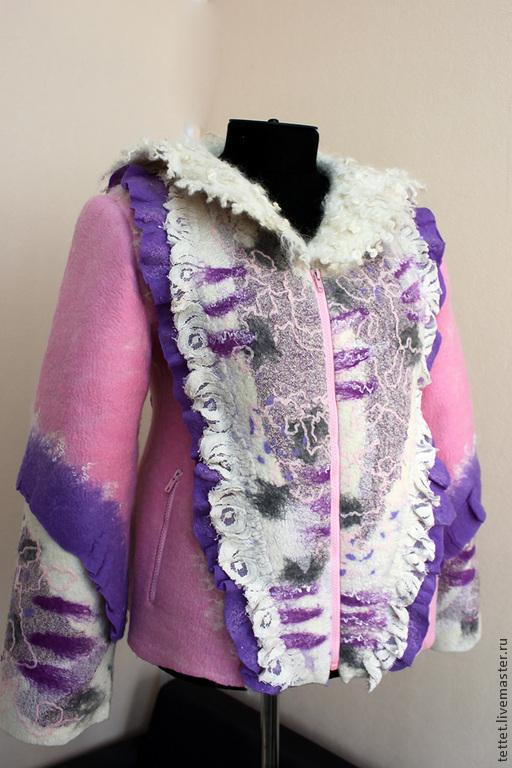 """Верхняя одежда ручной работы. Ярмарка Мастеров - ручная работа. Купить """"Сицилийский марципан"""" жакет-куртка. Handmade. Розовый, полупальто"""