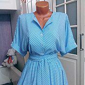 Одежда ручной работы. Ярмарка Мастеров - ручная работа Штапельное платье в пол Горошек на голубом 3. Handmade.