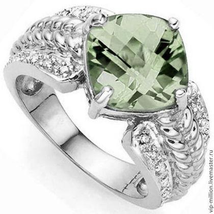 Кольца ручной работы. Ярмарка Мастеров - ручная работа Серебряное кольцо с зеленым аметистом и 12 бриллиантами. Handmade.
