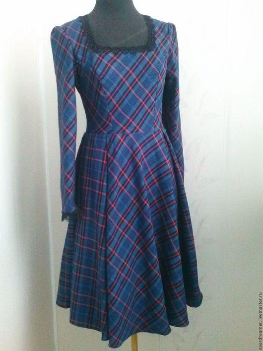 Платья ручной работы. Ярмарка Мастеров - ручная работа. Купить Платье Лондонский вечер. Handmade. Тёмно-синий, платье в клетку