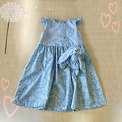 Работы для детей, ручной работы. Ярмарка Мастеров - ручная работа Нарядное детское голубое платье  и зайка. Handmade.