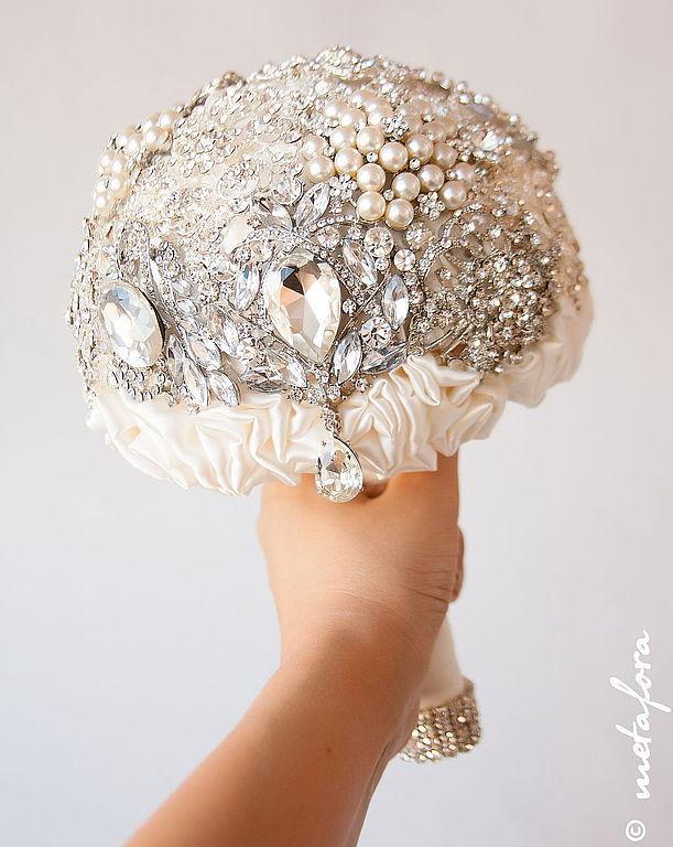 Свадебные цветы ручной работы. Ярмарка Мастеров - ручная работа. Купить Брошь Букет невесты. Handmade. Жемчуг, цветы на свадьбу