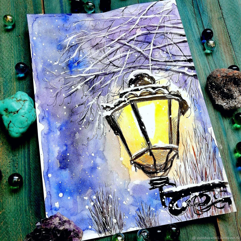 зимний фонарь, скетч акварелью, Картины, Ясный,  Фото №1