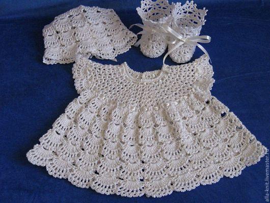 Для новорожденных, ручной работы. Ярмарка Мастеров - ручная работа. Купить Платье вязаное крючком для девочки. Handmade. Белый
