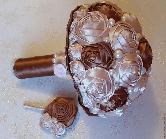 Свадебные цветы ручной работы. Ярмарка Мастеров - ручная работа. Купить Свадебный букет. Handmade. Коричневый, свадебный букет