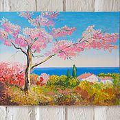 """Картины и панно ручной работы. Ярмарка Мастеров - ручная работа Картина маслом """"Дерево в цвету"""". Handmade."""