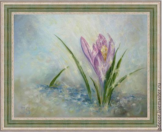 """Картины цветов ручной работы. Ярмарка Мастеров - ручная работа. Купить Картина """"Подснежник"""". Handmade. Голубой, нежность, блеск, Снег"""