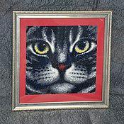 """Картины ручной работы. Ярмарка Мастеров - ручная работа Готовая алмазная картина """"Мордочка кота"""". Handmade."""