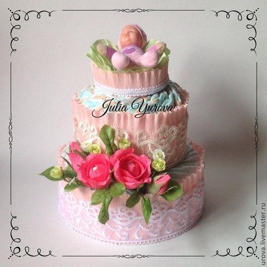 """Подарки для новорожденных, ручной работы. Ярмарка Мастеров - ручная работа. Купить Торт из памперсов """"В капусте"""". Handmade. Розовый"""