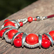 Украшения handmade. Livemaster - original item necklace made of natural stones. Decoration on the neck red. Handmade.