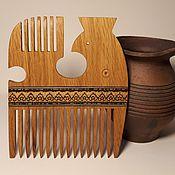 Украшения handmade. Livemaster - original item Wooden comb Bird oak inlay massiv crest. Handmade.
