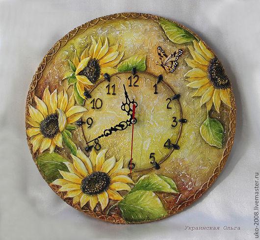 """Часы для дома ручной работы. Ярмарка Мастеров - ручная работа. Купить Часы в объемной технике """"Подсолнухи"""". Handmade. Желтый, семечки"""
