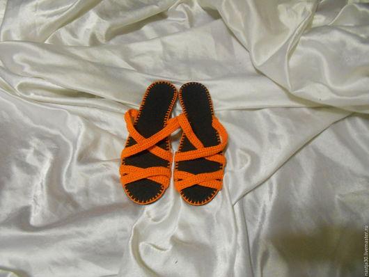 Обувь ручной работы. Ярмарка Мастеров - ручная работа. Купить Шлепки Ирлен. Handmade. Оранжевый, летняя обувь