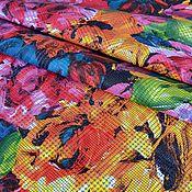 Материалы для творчества handmade. Livemaster - original item Genuine cow leather-Bright floral 1 mm (large drawing). Handmade.