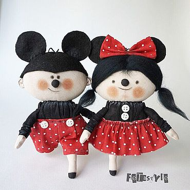 Куклы и игрушки ручной работы. Ярмарка Мастеров - ручная работа Микки и Минни Маус Мыши символ 2020 года Игрушки на Елку. Handmade.