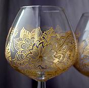 """Посуда ручной работы. Ярмарка Мастеров - ручная работа Большой бокал для коньяка """"Золотые кружева"""". Handmade."""